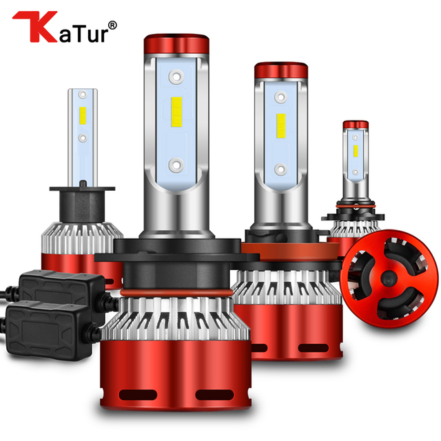 Katur 12000lm turbo lâmpadas led para carros h8 h11 led h4 9005 9006 hb4 hb3 h7 9012 hir2 lâmpadas 12v cps led farol h7 led