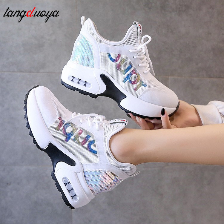 Wedge Sneakers Ladies Sneaker Sequins Shoes Women  Mesh Platform Sneakers Trainers White Shoes Heels Wedges Shoes Casual Shoes