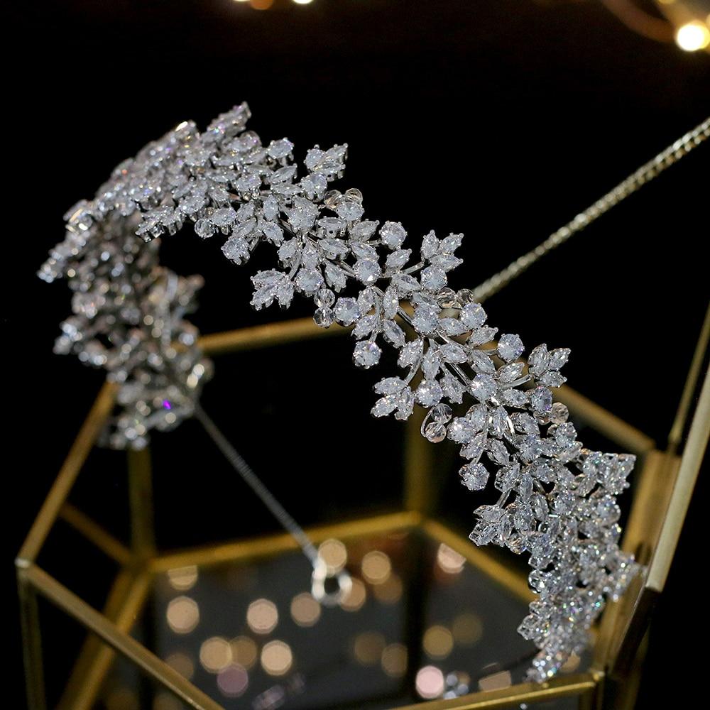 Hohe qualität kristall braut stirnband haar band 100% zirkonia weibliche schmuck hochzeit haar zubehör tiara krone