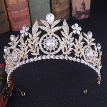 Queen Crystal Rhinestone Headdress Princess Royal Party Crown Girl Wedding Hair Jewelry Pearl Headband Bridal Accessories