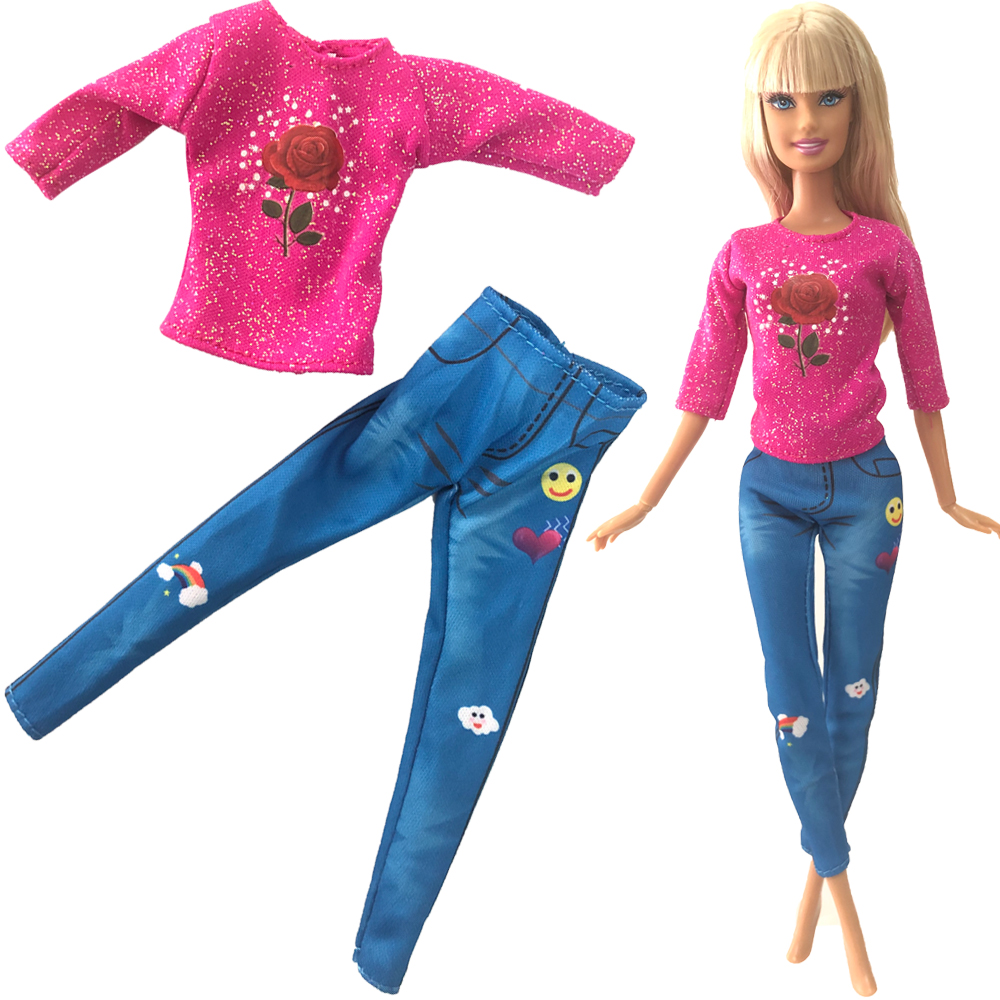NK 2020 Newest Doll Fashion Clothing Long Jeans Trousers Casual Red Rose Flower Top For Barbie Doll Accessories Gift 270A 3X