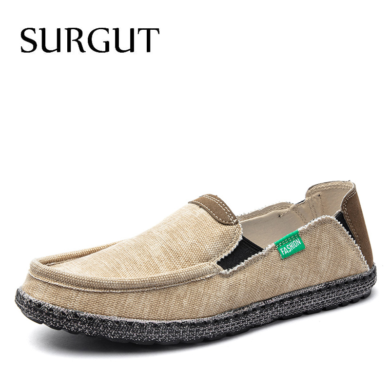 SURGUT Brand New Fashion All Season Men Driving Shoes Loafers Espadrilles Shoes Breathable Men Casual Flats Canvas Size 39~47Mens Casual Shoes   -