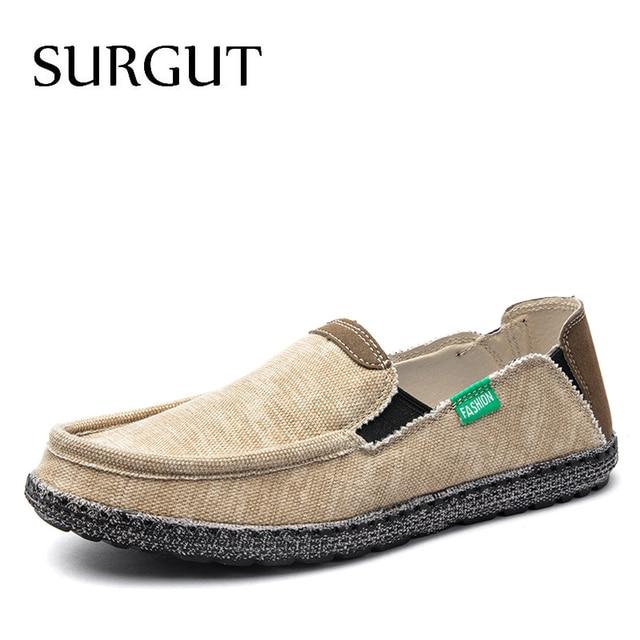 SURGUT Brand New Fashion All Season Men Driving Shoes Loafers Espadrilles Shoes Breathable Men Casual Flats Canvas Size 39~47