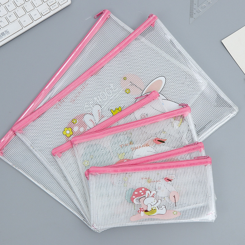Korean Simple Pencil Bag Transparent File Folder Documen Large Capacity Stationery Bags Small Fresh Tudents Supply Random Color