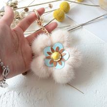 Nowy kreatywny importowane prawdziwe norek torba z futerka wieszak kwiat wiśni kwiatowy brelok do kluczy wielu kolor DIY dekoracyjne norek torba z futerka wisiorek tanie tanio Other Łańcuch 0 1kg werr