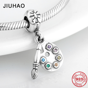 High quality 925 Sterling Silver Colorful CZ brush palette Pendants Beads Fit Original Pandora Charm Bracelet Jewelry making(China)