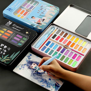 Image 3 - New Portable 36 Color Solid Watercolor Paint Set Children Beginners Hand Painted Water Color With Water Brush Pen Art Supplies