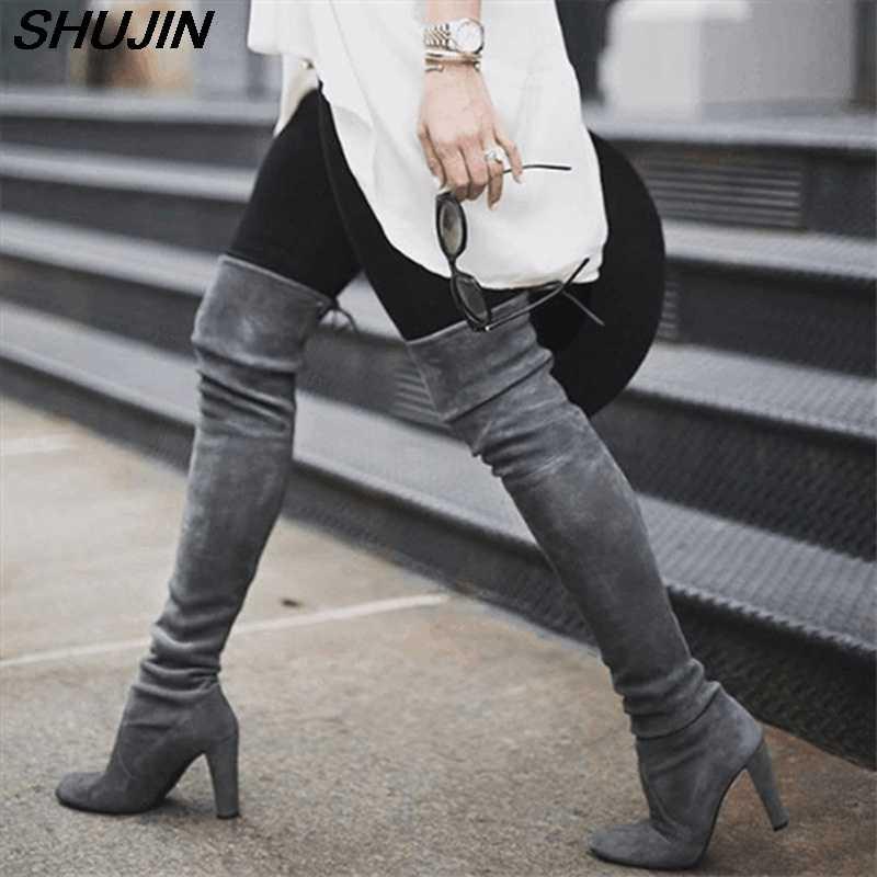 ฤดูหนาวรองเท้าผู้หญิงผู้หญิงเข่าสูงรองเท้าบูทลูกไม้ปักเซ็กซี่รองเท้าส้นสูงรองเท้าผู้หญิงลูกไม้ขึ้น 2019 แฟชั่นรองเท้า