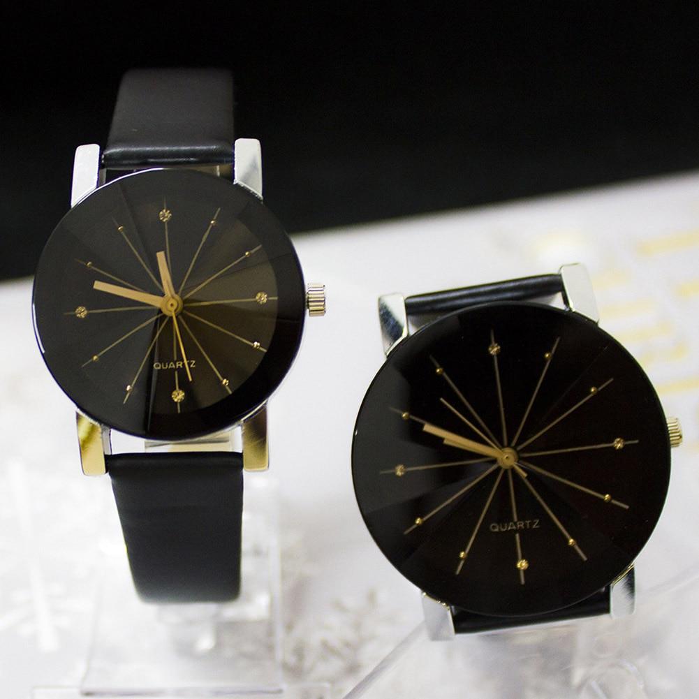 Newly Elegant Quartz Wristwatches Leather Belt Couple Watch Women Watches Simple Men's Analog Clocks Female New