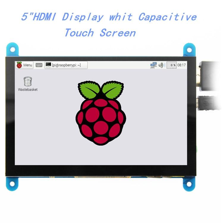 5-дюймовый портативный монитор EQV HDMI 800x480, емкостный сенсорный экран, ЖК-дисплей для Raspberry Pi 4 3B +/ PC/Banana Pi