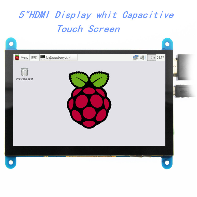 Eqv 5 polegada monitor portátil hdmi 800x480 tela de toque capacitivo display lcd para raspberry pi 4 3b +/pc/banana pi