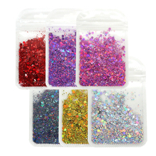 1 Bag Holographic Chunky Glitter Sequins Laser Sparkly Nail Flakes Slice Mix Hexagon Shape DIY For Nails Manicure Art Decoration