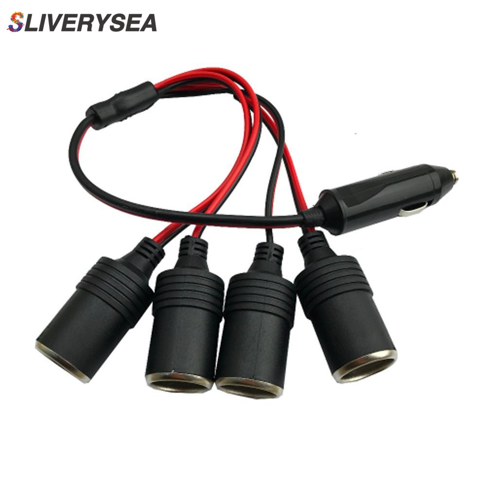 Car Cigarette Lighter Extension 12 V 24 V Power Charger Adapter 1 to 4 Way Road Distributor Female Socket Plug Connector Adapter