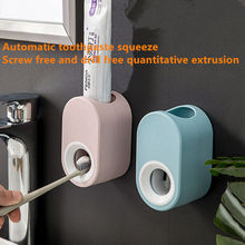 BAISPO Wall Mounted Automatic Toothpaste Squeezer Dispenser Plastic Dust-proof Toothbrush Holder For Toilet Bathroom Accessories wall mount dust proof toothbrush holder dispenser hair drier rack automatic toothpaste squeezer dispenser bathroom accessories