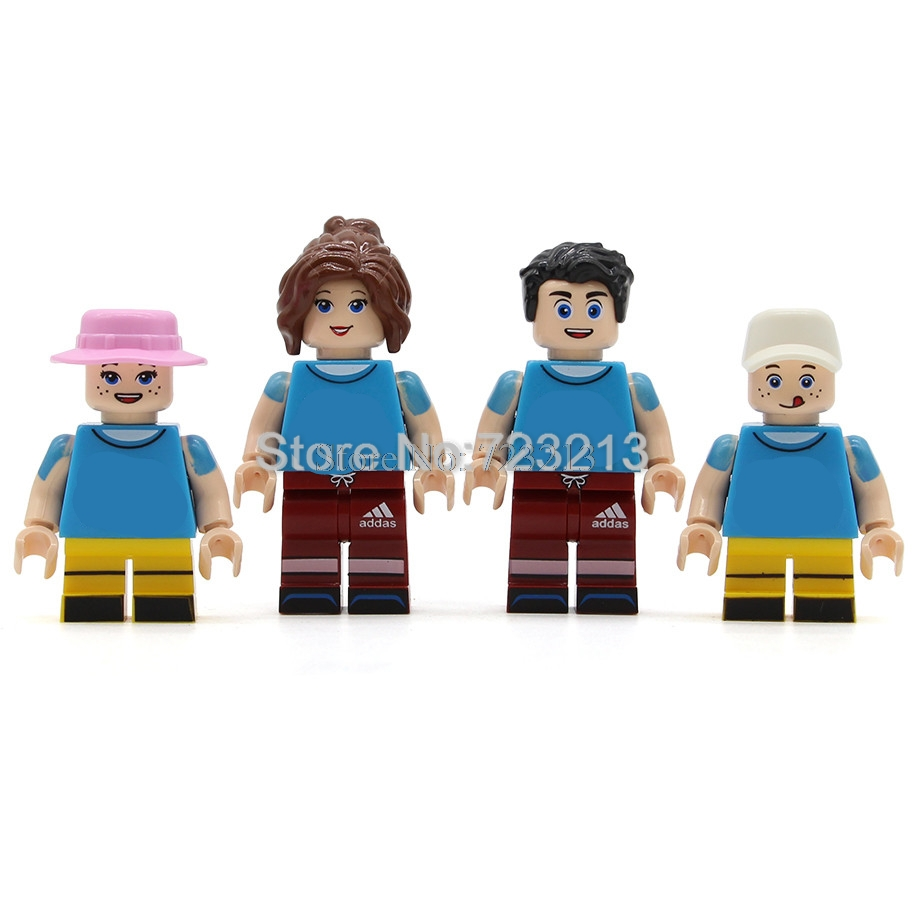 4pcs/lot Cartoon Family Figure Set Parents Mon Father Son Girl Kids Bricks MOC Building Blocks Kits Toys For Children Legoing
