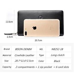 Image 4 - BISON DENIM hakiki deri cüzdan erkekler lüks marka telefon cüzdan fermuar sikke uzun çanta büyük iş erkek cüzdan N8252