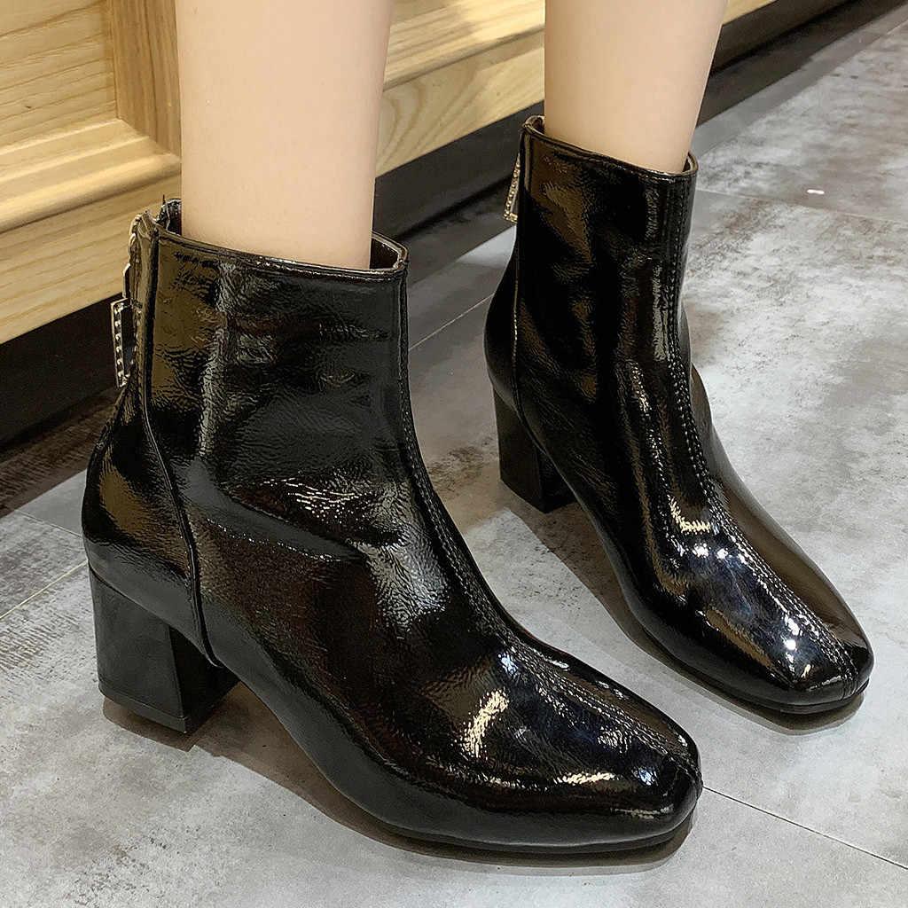 Botines de mujer botas de invierno botas sólido de puntera cuadrada al aire libre Casual zapatos de tacones cuadrados botas Punk mujer