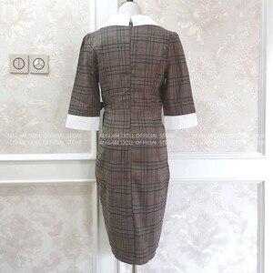 Image 5 - Automne cranté Vintage Plaid Vestidos nœud demi manches genou longueur moulante crayon bureau travail robe en tissu