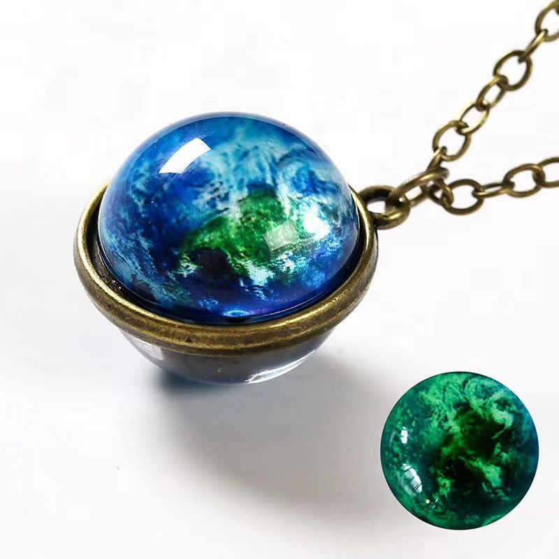 Mgławica Galaxy Noctilucent dwustronny wisiorek naszyjnik szkło Art Picture Handmade komunikat Universe Planet biżuteria dla kobiet