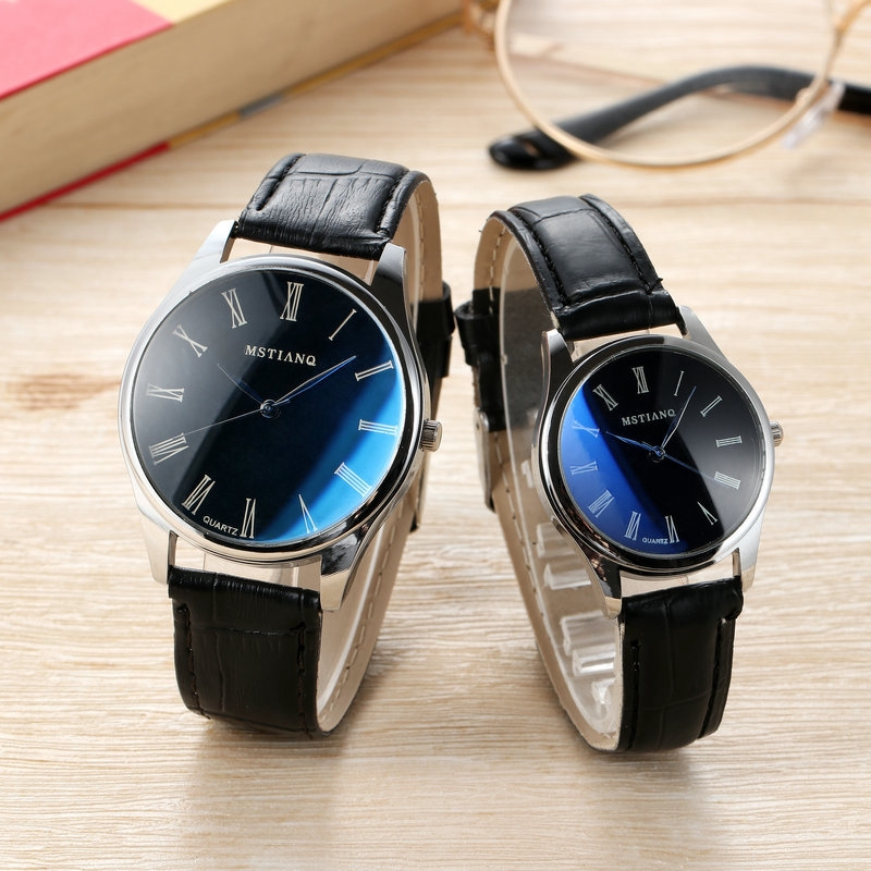Couple Watches Leather Strap Fashion Blue Dial Quartz Analog Casual Simple Wrist Watch For Women And Men