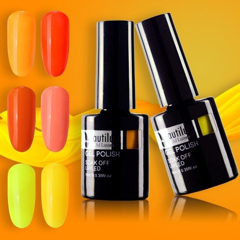 Beautilux 1pc Hot Summer Neon Color Yellow Orange Nail Gel Polish UV LED Gels Nail Polish Lacquer Varnish Enamel 10ml