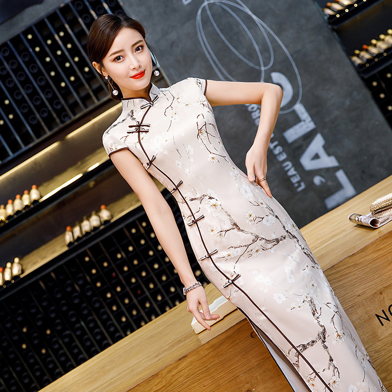 SHENG COCO Classic Plum Flowers Long Cheongsam Dresses Female Qipao Red Green Vintage Chinese Evening Banquet Party Dress