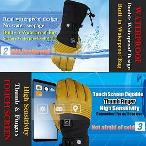 Image 4 - Mountitec 探検 4 電気加熱された手袋リチウム電池自己発熱タッチスクリーンゴートスキンスキー手袋防水乗馬 guantes