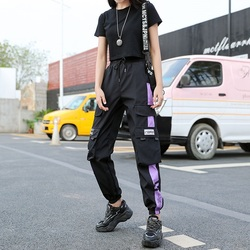 Womens Fashion New Cargo Pants Autumn Black Drawstring Ankle-Length Pants Women Casual Streetwear Joggers Trousers Sweatpants