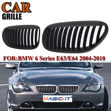 MagicKit 2pcs Matte Black Front Kidney Car Styling Racing Grilles for BMW 6 Series E63 M6 645Ci 650i E64 Coupe Cabrio 2005-2010 car styling glossy black m color front grille grilles for bmw 6 series e63 e64 m6 05 10 convertible coupe auto car styling