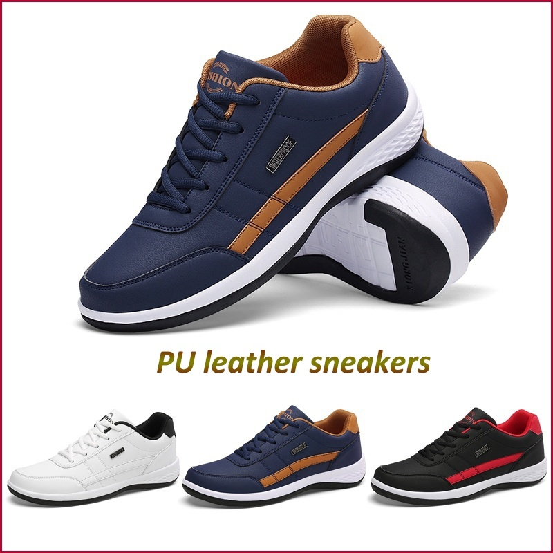 PU Leather Men's Casual Sneakers White Running Shoes 2019 Fashion Men Outdoor Sports Shoes Lace Up Four Season Footwear Walking