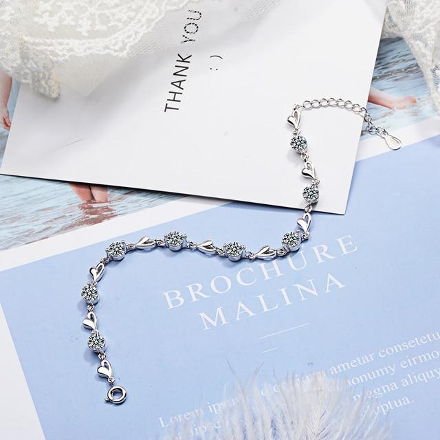 Delicate 925 Sterling Silver Zircon Love Heart Shaped Bracelets For Women Valentines Gift Wedding Jewelry 4