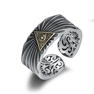925 пробы Серебряное регулируемое кольцо с уличной культурой для мужчин joyas de plata 925 ювелирные изделия