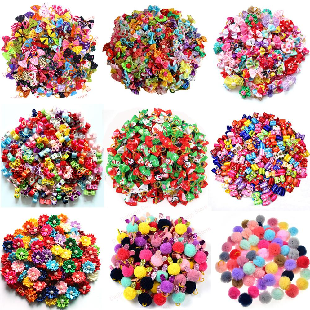 20PCS Spring  Dog Hair Bows For Puppy Yorkshirk Small Dogs Hair Accessories Grooming Bows Rubber Bands Dog Bows Pet Supplies