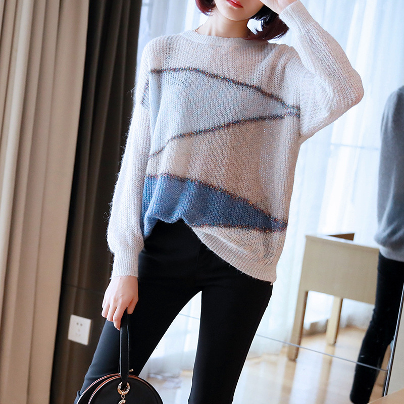 Hollow Out Knit Sweater Thin Lurex Yarn Fashion Pullover Long Sleeve Ladies 2019 Autumn New Women's Loose Sueter Mujer
