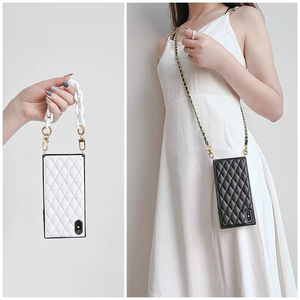 Image 1 - Luxury Plaid Lambskin Squar Phone case For Samsung Galaxy S20 S21/10 Note10 20 Ultra Plus A90 5G Strap Chain Crossbody Bag Cover