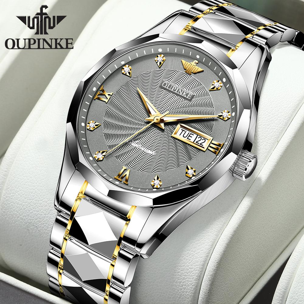OUPINKE Men Automatic Mechanical Watch with Tungsten steel Waterproof Japan Movement Date Top Brand Luxury Business reloj hombre 1