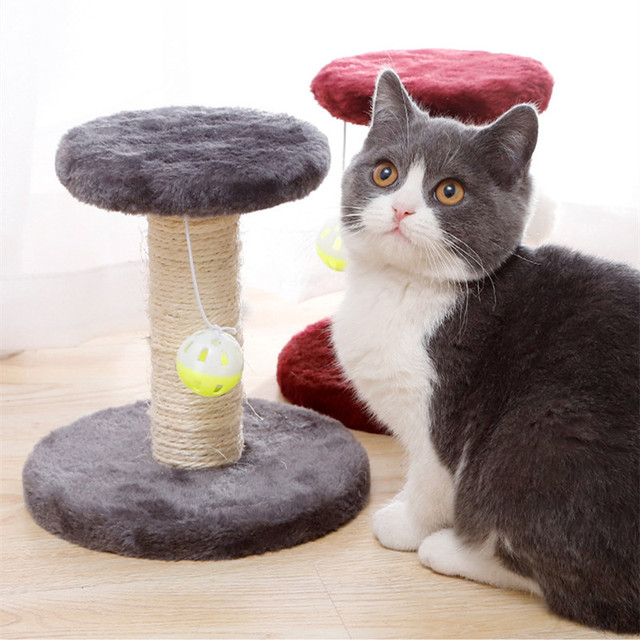 Cat Scratcher Tree Plush Cat Climbing Frame Pet Toy Double Drop Ball Mouse Plush Claw Sisal Column For Cat Grind Claws Catch 2