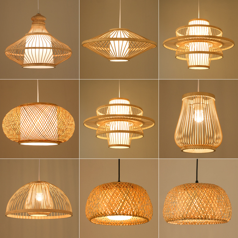 Chinese Bamboo Retro Hanging Light Fixtures Wicker Pendant  Light Living Room Hotel Restaurant Aisle Hanging Lamp Decor