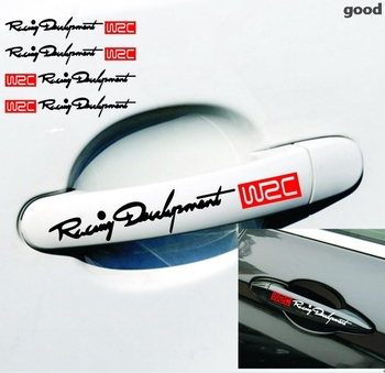 4 x Newest WRC Car Door Handle Stickers and decals Reflective Rally Car Stickers for toyota vw skoda kia lada opel image