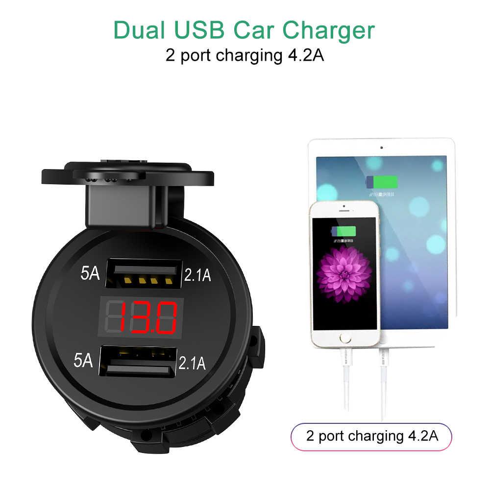 Dual Usb Motorfiets Auto Sigarettenaansteker Led Digitale Voltmeter Meter Monitor Voor Motorfiets Auto Truck Atv Boot