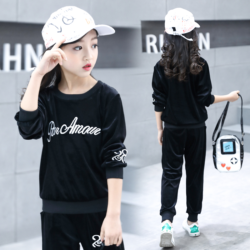 2019 New girls Clothing Set Long Sleeve Autumn pleuche Sweatshirts+Pant  Sport Kid Clothes DX03141
