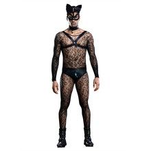 Sexy Cat Man kostiumy strój Cosplay przezroczyste siatkowe body egzotyczna odzież maska kota męskie strój do klubu nocnego seksowne kostiumy 7219 tanie tanio Poliester Men Party Dress Cat Cosplay Cat Man costume Polyester blends Men Bodysuit Free Euro Size Animal Cosplay Party Performance