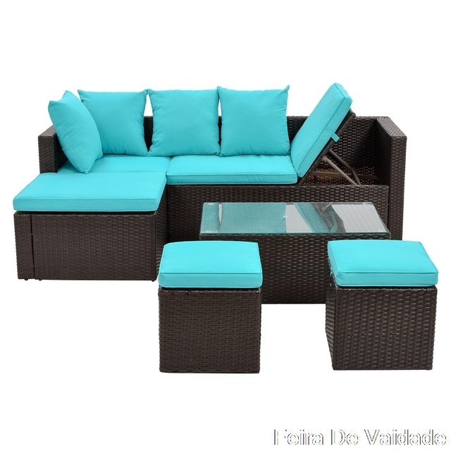 5-Piece Patio Furniture Set with Glass Table and Adjustable Chair 2