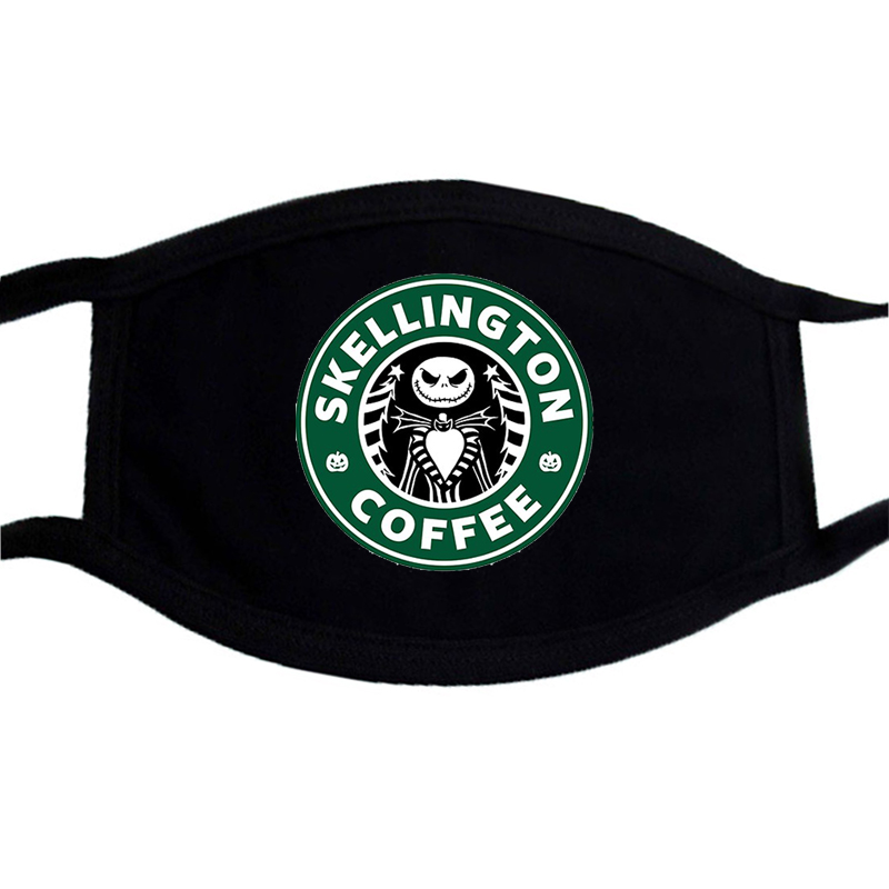 Washable Unisex Dust Proof Mask Skellington Coffee Funny Printing Face Masks Black Winter Keep Warm Hip Hop Mouth-Muffle Mask
