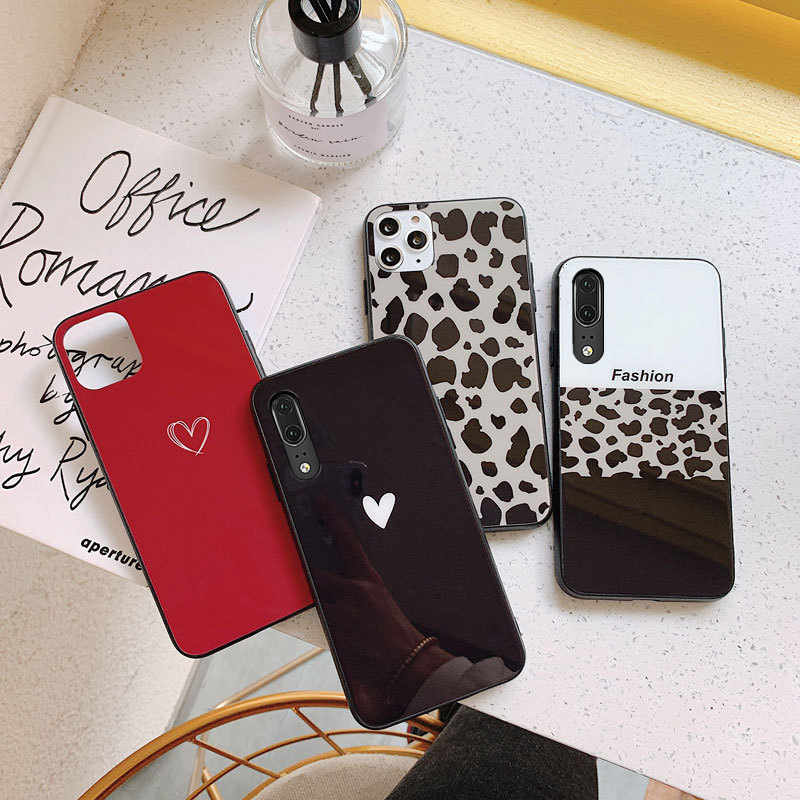 For <font><b>Samsung</b></font> A10 A20 A30 A40 <font><b>A50</b></font> <font><b>Case</b></font> Free strap Fashion new Leopard Hard <font><b>Glass</b></font> Cover For <font><b>Samsung</b></font> A10S A20S A50S A30S A40S Casing image