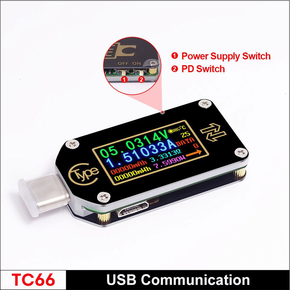 TC66/TC66C Type-C PD Trigger <font><b>USB</b></font>-C Voltmeter Ammeter Voltage <font><b>2</b></font> Way Current Meter Multimeter PD Charger Battery <font><b>USB</b></font> Tester image