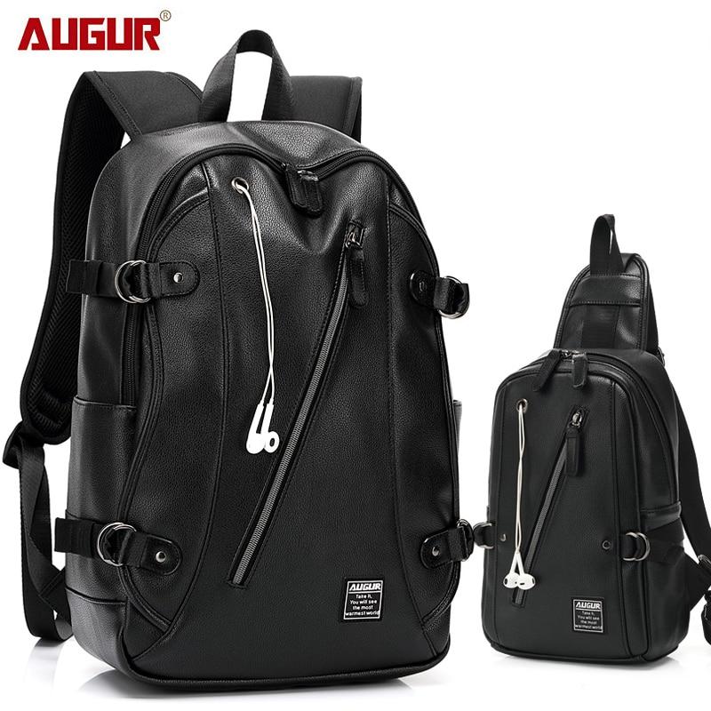 AUGUR Fashion Men Women Backpacks PU Leather Earphone Hole Travel Waterproof 15.6 Inch Laptop Backpack Teenager Student School