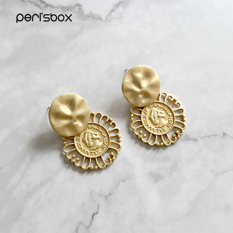 Peri'sBox Matte Gold Hammered Coin Flower Drop Earrings Texured Queen Portrait Cameo Statement Earrings Geometric Drop Earrings
