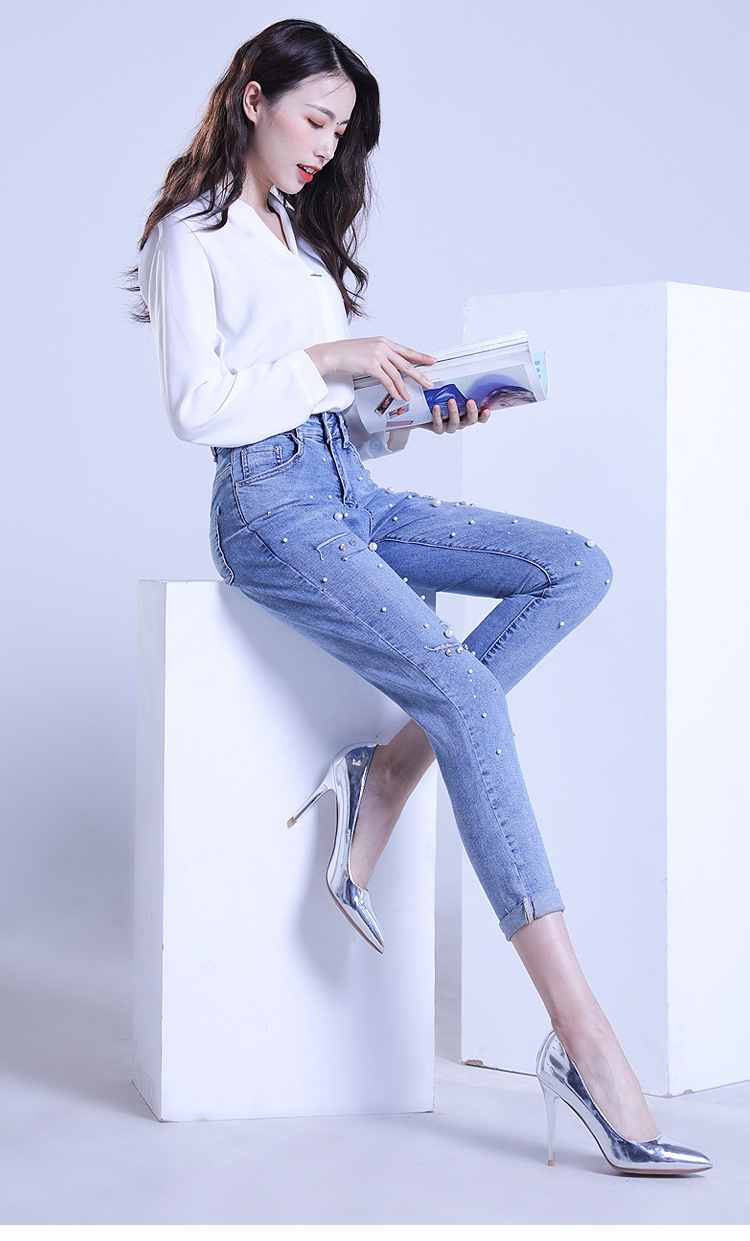 KSTUN FERZIGE ripped jeans for women slim fit light high waist blue thin hand beads elastic distressed cropped pants denim trousers 11