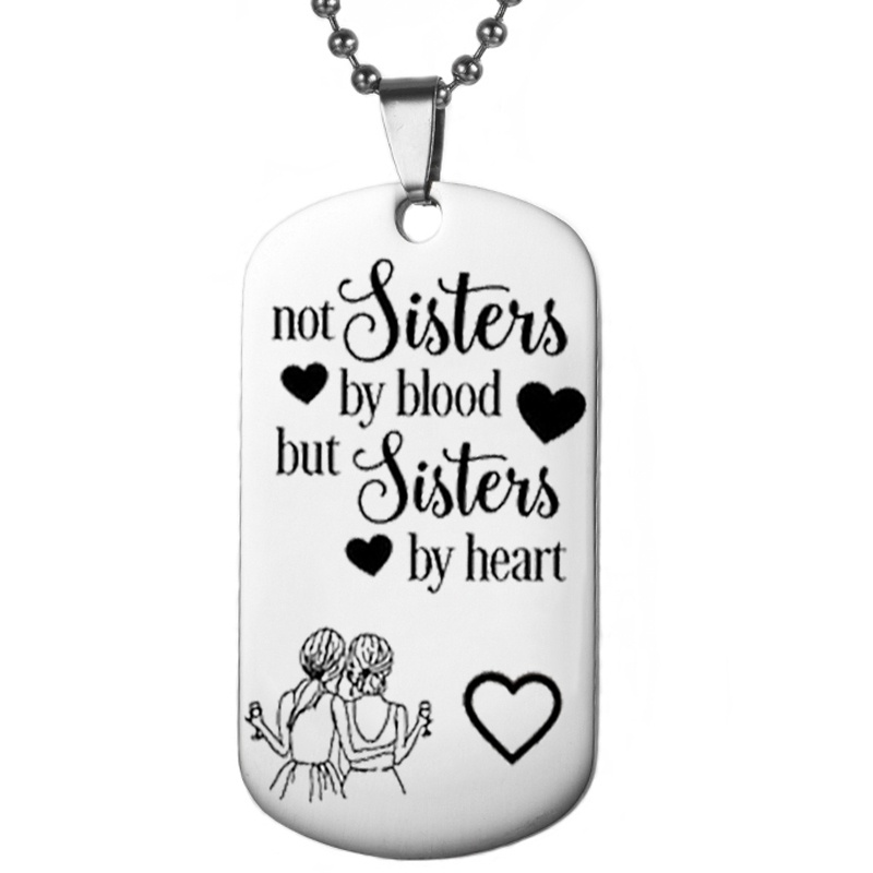 Christmas Gift for Your Best Friend, BBF Keychain, Stainless Steel Pendant Necklace Jewelry, Not A Sister Blood Sisters Keychain image